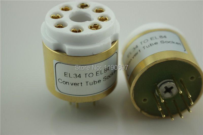 1PC 6V6 EL34 (Top) TO EL84 6P14 (Bottom) Tube 8Pins TO 9Pins DIY Audio Vacuum Tube Adapter Socket Converter Free Shipping