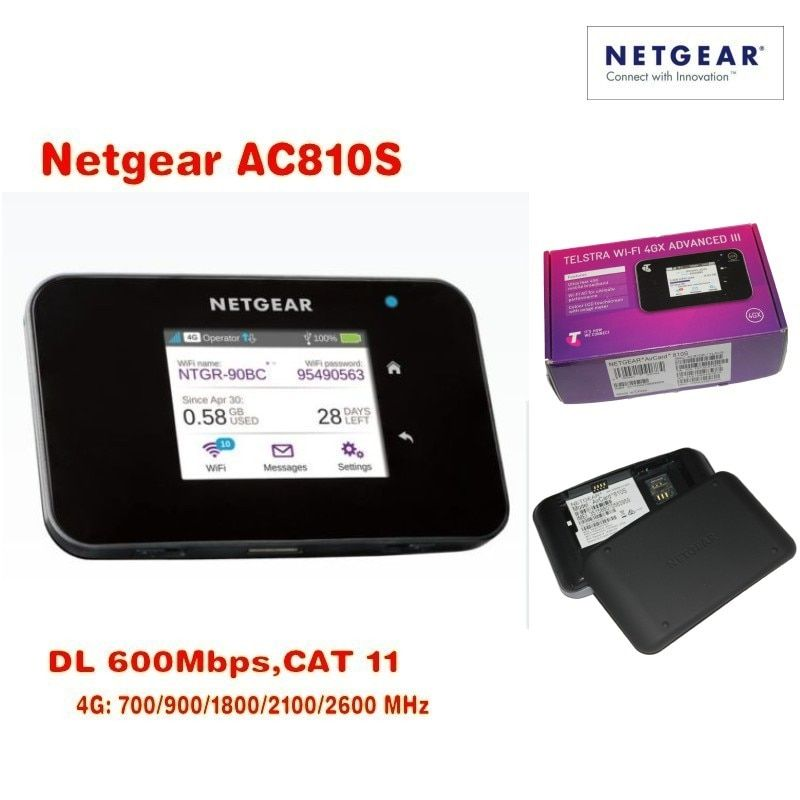 Lot of 10pcs Unlocked Netgear Aircard AC810S 4G LTE Cat11 Mobile Hotspot 600Mbps WiFi Router (plus antenna),DHL delivery