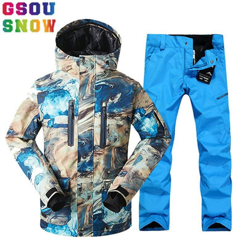 GSOU SNOW Brand Ski Suit Men Ski Jacket Pants Snowboard Sets Waterproof Mountain Skiing Suit Winter Male Outdoor Sport Clothing