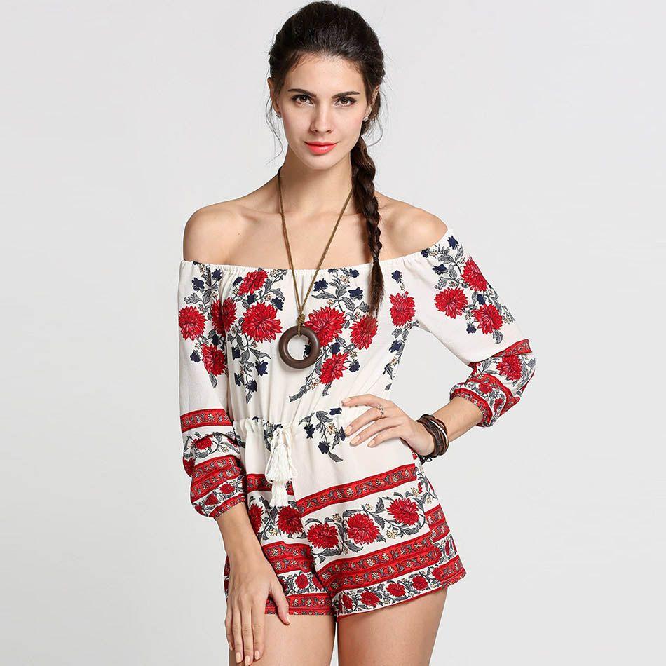 Mujeres Monos Sexy Hombro de Slash Cuello Estampado floral de Color Rojo Estilo Mameluco 2017 del Verano Beach Short Playsuit Mujeres Trajes