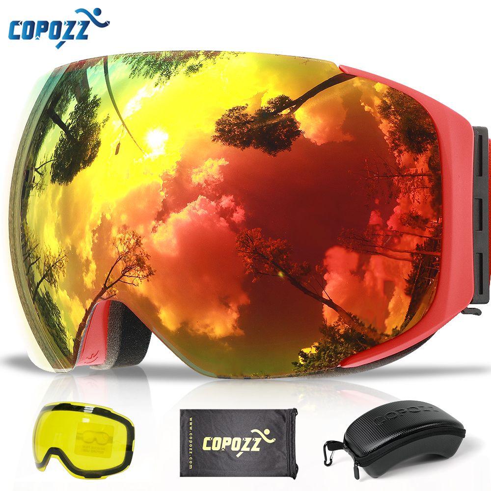 COPOZZ lunettes de Ski magnétiques avec lentille à changement rapide et ensemble de boîtiers 100% UV400 Protection Anti-buée lunettes de Snowboard pour hommes et femmes