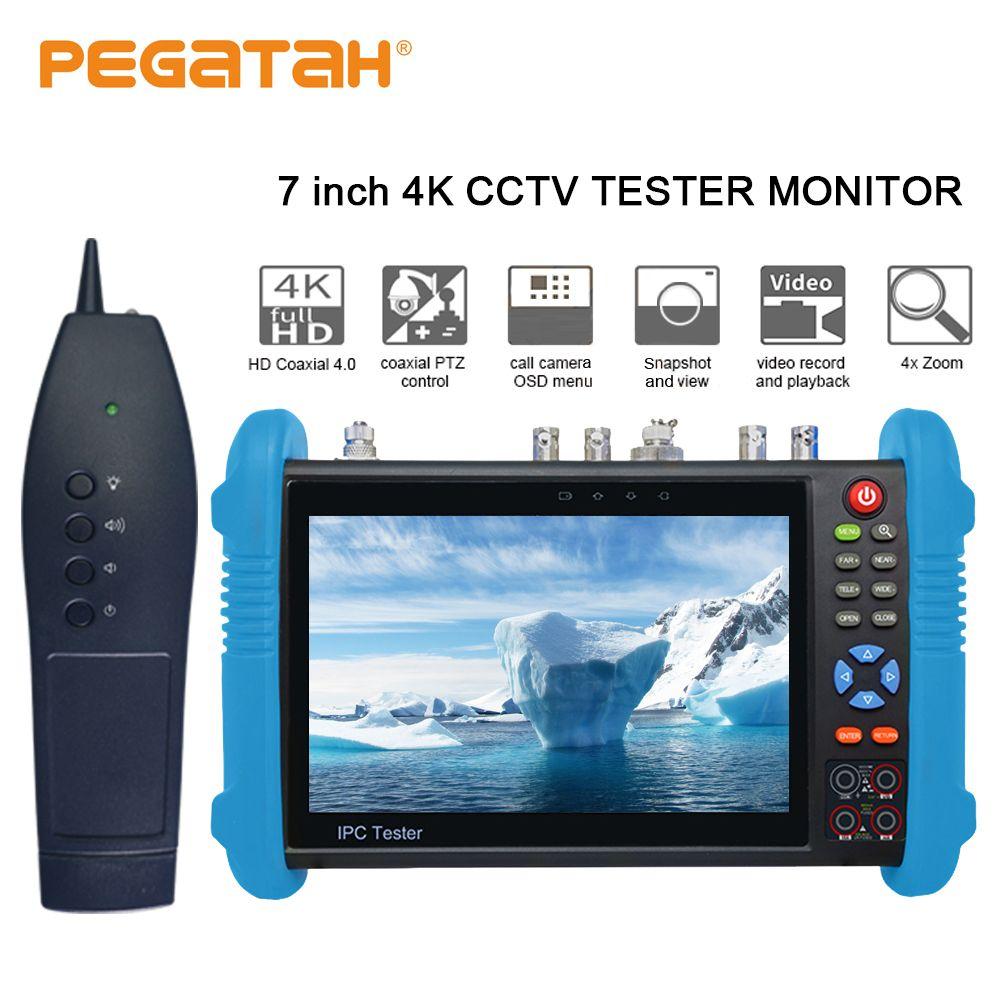7 zoll H.265 4 K IP tester SDI IP TVI CVI AHD CCTV Kamera tester unterstützung TDR Optische power HDMI sicherheit kamera tester und tracer