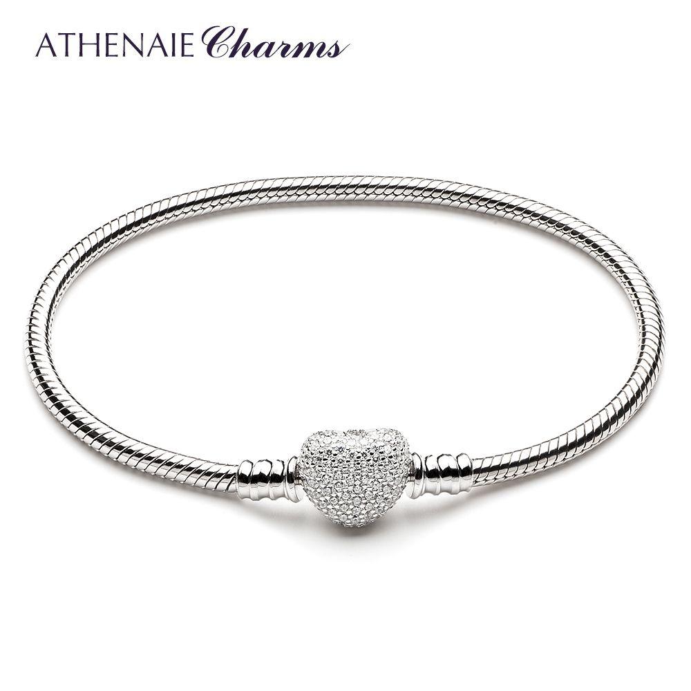 ATHENAIE 925 Sterling Argent Serpent Chaîne Avec Pavent Effacer CZ Coeur Fermoir Bracelet Fit Tous Charme Européen Perles