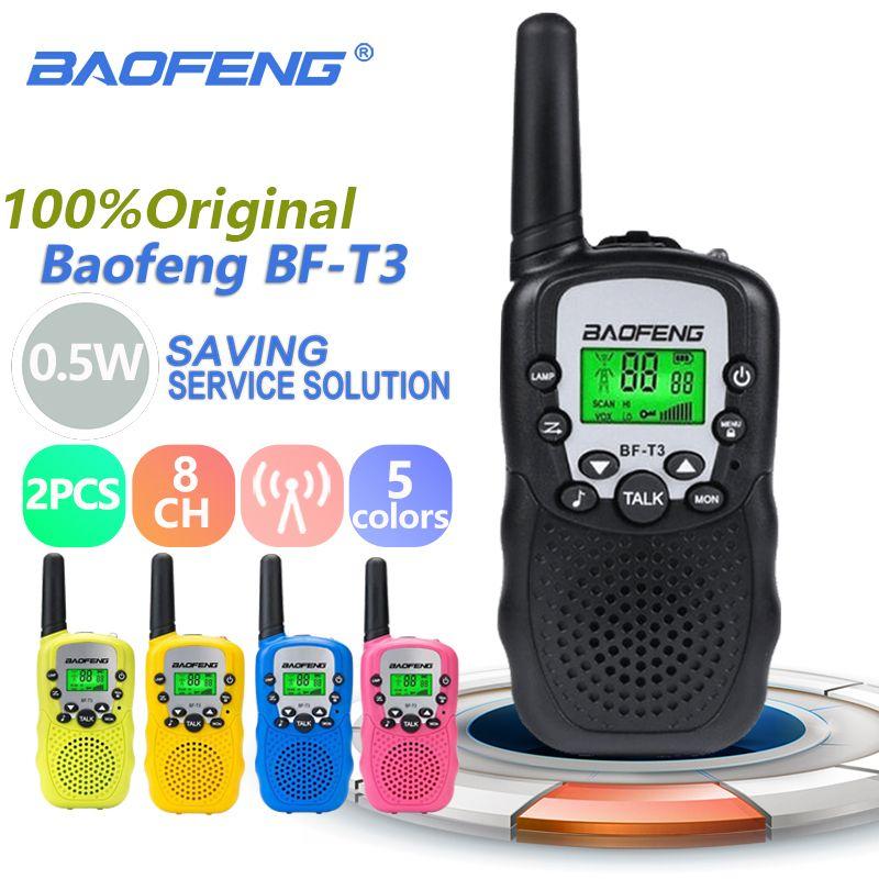 2pcs Wholesale Children Mini Kids UHF Walkie Talkie BF-T3 Baofeng FRS Two Way Radio Comunicador T3 Handy Talkie Hf Transceiver