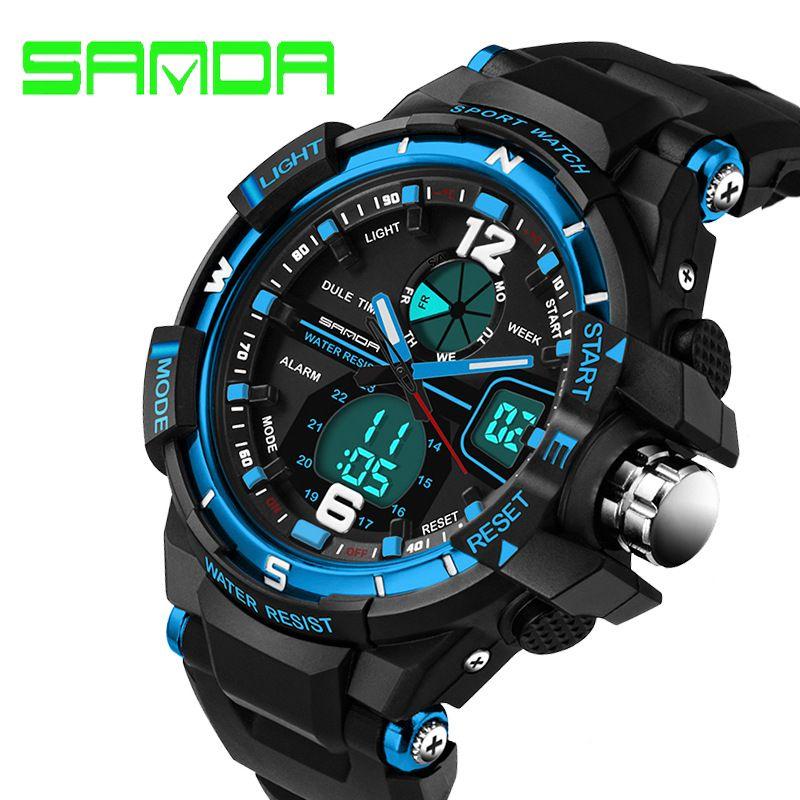 2018 nouvelle marque SANDA Sport montre hommes étanche militaire Sports montres montre pour hommes de luxe Led numérique horloge Relogio Masculino