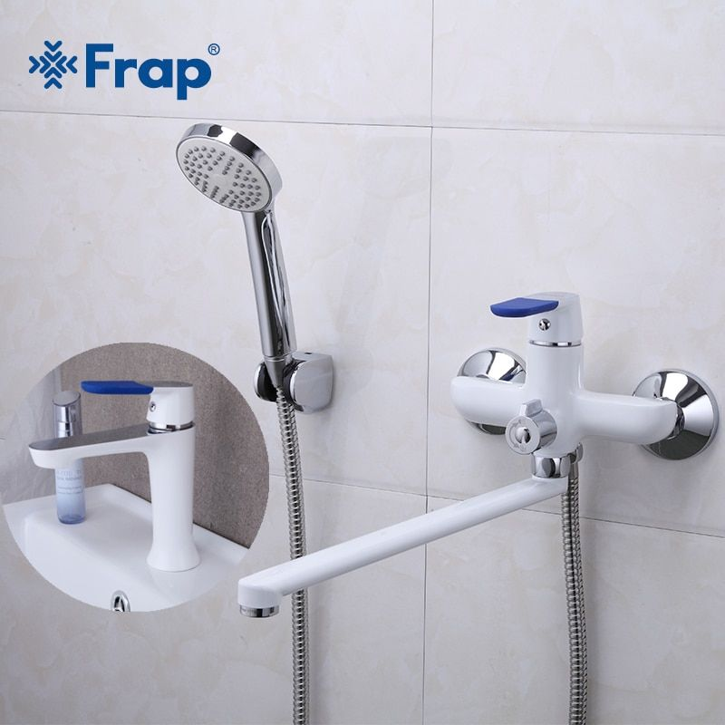 Frap Hot Classic 1 Set Whit Spary Painting Bathroom Bathtub Shower Faucet with Basin Tap Mixer Shower Head Torneira F2234+F1034