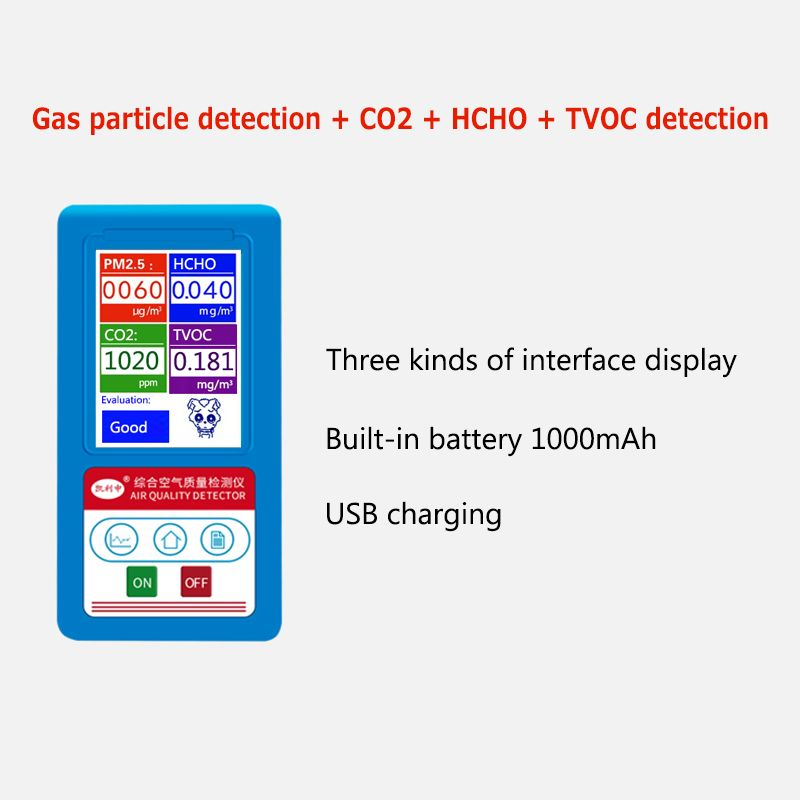 BR-8C Gas Quality Detector Monitor Particles Dust Counter Formaldehyde HCHO TVOC Gas Analyzer CO2 PM2.5 Tester Chargable Battery