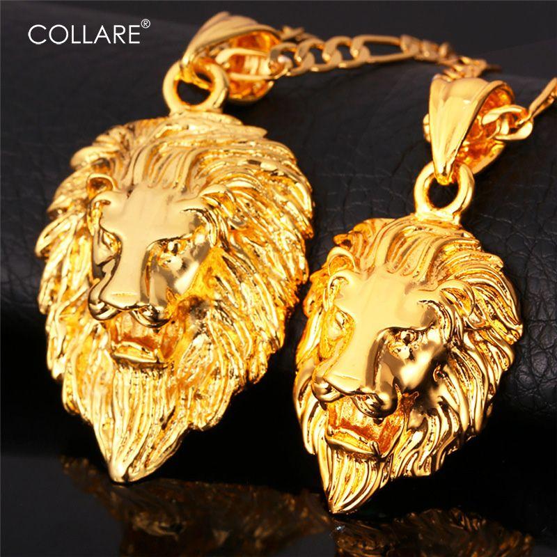 Collare Big Lion Head Pendentif Hommes Bijoux Or/Argent/Noir Couleur Frigaro Chaîne Gros Animal Hiphop Collier Femmes P585