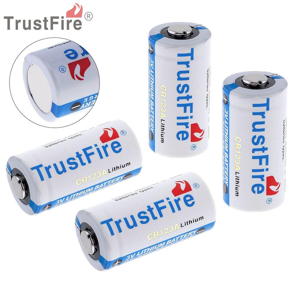 4 pièces TrustFire 3 V 1400 mAh 16340 CR123A Batterie Au Lithium avec Soupape de Sécurité pour lampes de poche LED Phares Caméra Casque