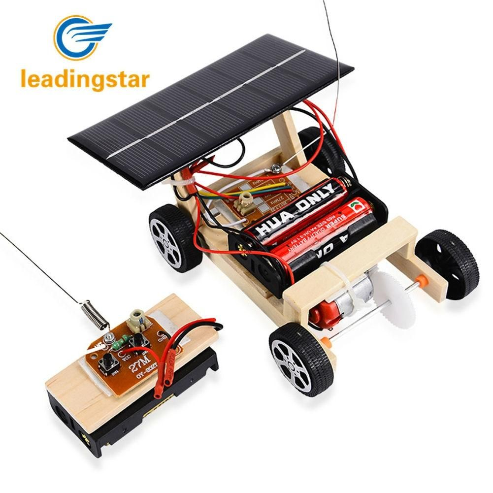 LeadingStar 2018 NEW Wooden DIY Solar RC Vehicle Car Wooden Assembly RC Toys Science Model Educational Toy Intelligence
