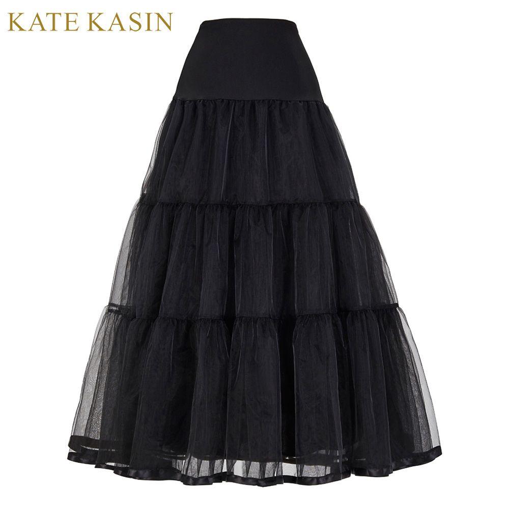 Vintage Robe Jupon pour le Mariage Rétro Crinoline Accessoires De Mariage Des Femmes Noir Blanc Longue Jupons Jupon