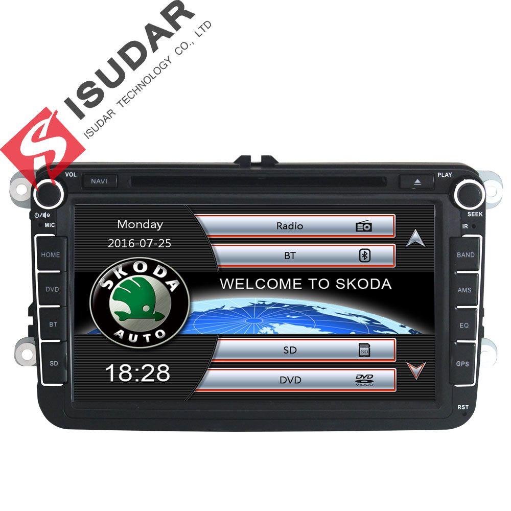 Isudar Auto Multimedia-player GPS 2 Din Für Skoda/VW/Volkswagen/TIGUAN/MAGOTAN/Golf/ CADDY/SITZ Wifi FM AM Kapazitiven Touchscreen