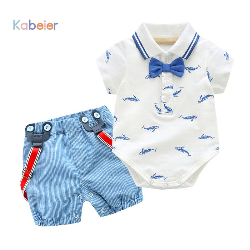 0-2Y Summer Newborn Baby Boy Girl Clothes set Little <font><b>Shark</b></font> T-shirt Overalls +Blue Shorts Outfits Clothes Baby Clothing Set