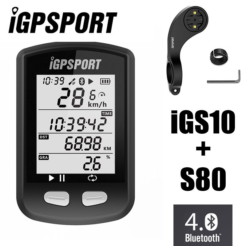 IGPSPORT iGS10 GPS ANT+Bluetooth 4.0 MTB Road Bicycle Cycling Computer Wireless Speedometer Vdo Mileometer with S80 Out Mount