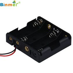 HL 2016 Hot New  Box Holder For 4 x AA Black With Wire Leads Plastic Battery Storage Case new SP30