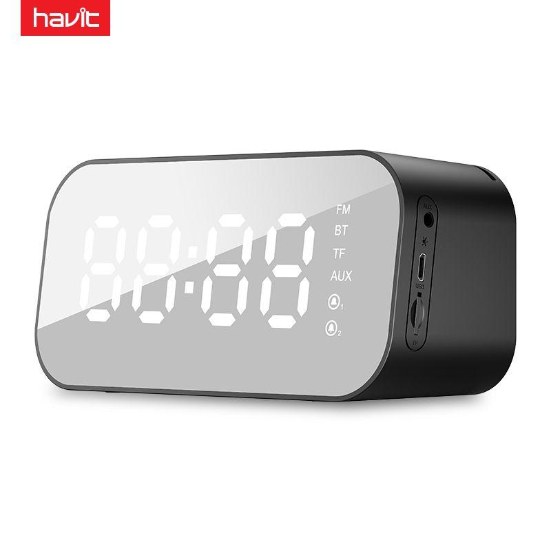 HAVIT Portable Bluetooth Speaker Alarm Clock Wireless LED Display Temperature With FM Radio Support Aux TF USB Music Player M3