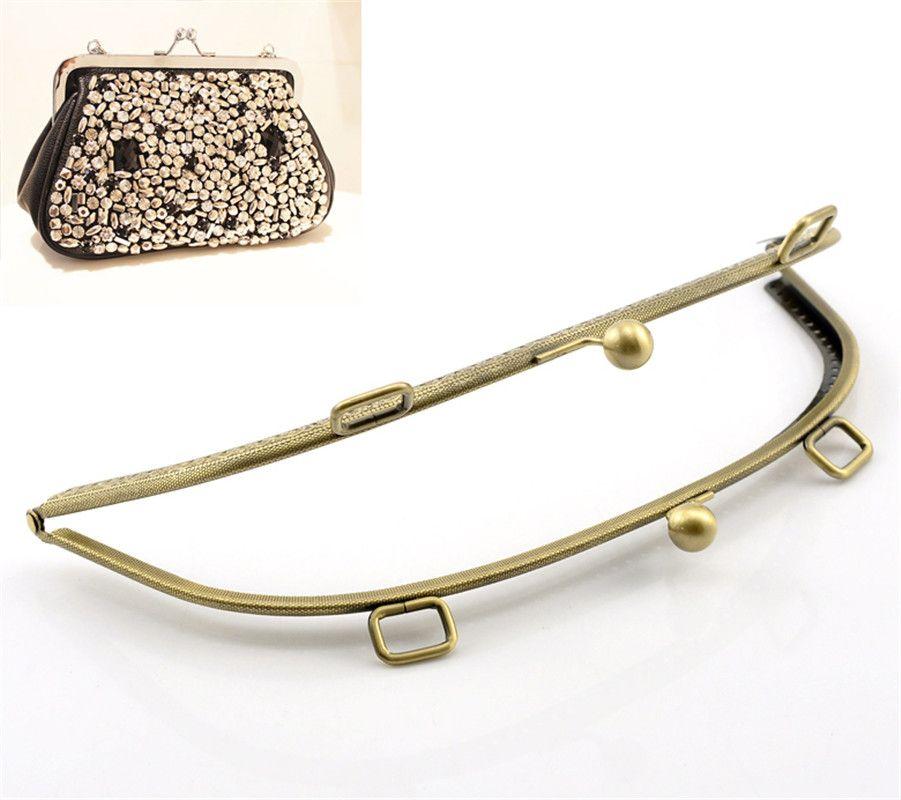 PACGOTH À Base de Fer Alliage Baiser Fermoir Serrure Bourse Cadre Arc Antique Bronze 25.5x11 cm, ouvrir Taille: 25.5x22 cm, 1 Pc