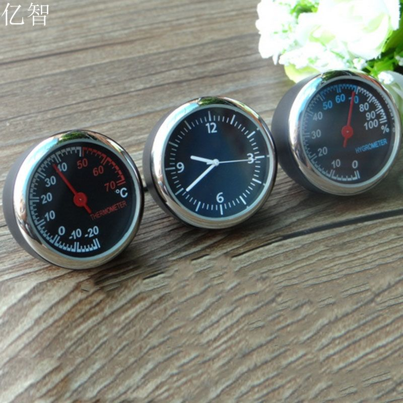 YiZhi car styling meter decoration Ornaments best gift 4CM cool styling quartz watch + hygrometer + thermometer