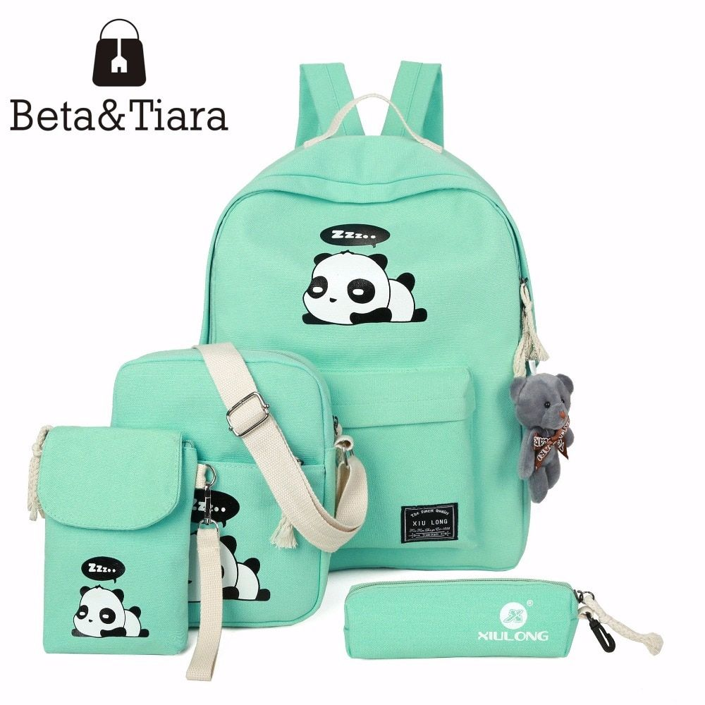 2017 panda school bags for teenage girls canvas backpack girls 4pcs/set Knapsacks for teens pencil holder student bookbag