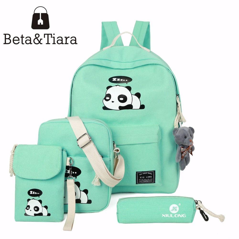 2017 panda school bags for teenage girls canvas backpack girls 4pcs/set Knapsacks for teens pencil holder student bookbag