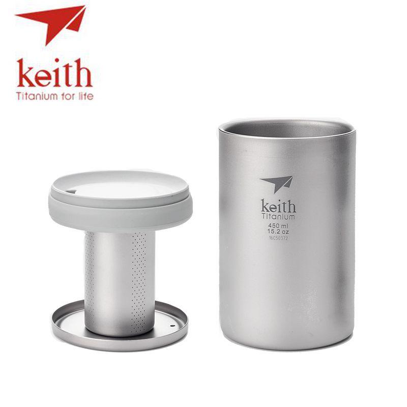 Keith 450 ml Double paroi en titane tasse avec infuseur de thé en vrac Camping thé cafetière en titane crépine pour tasse théière Ti3521