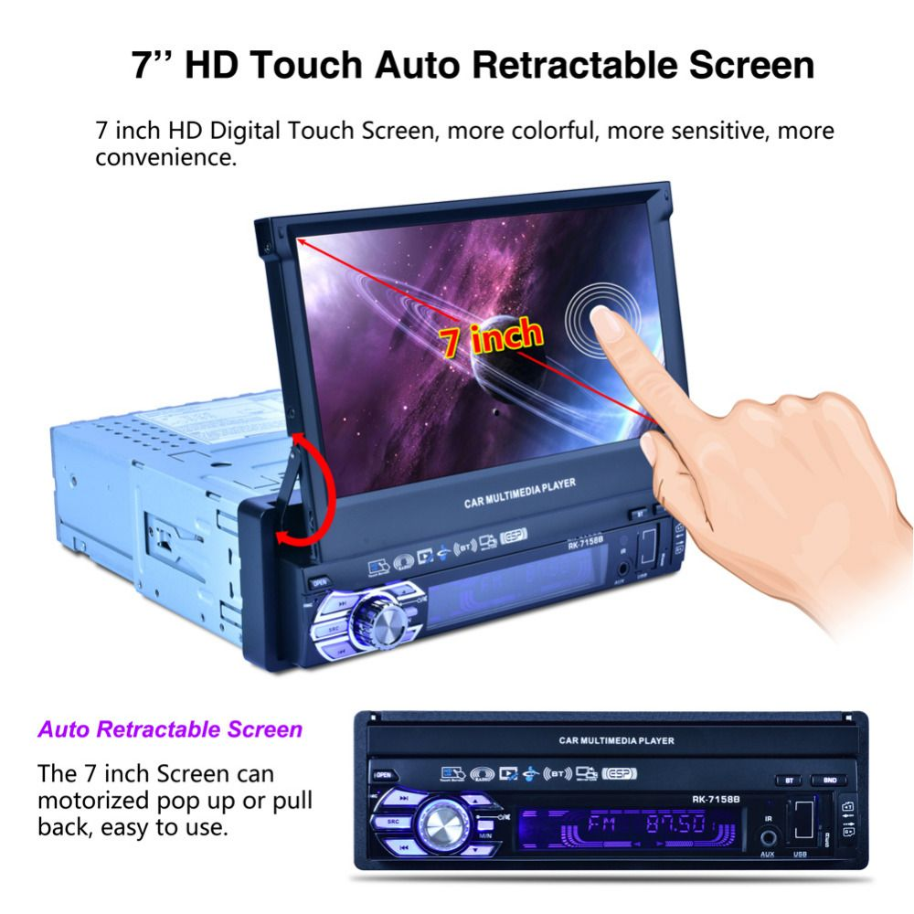 2017 1 DIN Stereo Car Radio MP5 1080P Playback Car Monitor Bluetooth SD USB Charger HD 7inch Automatic Retractable Double Screen
