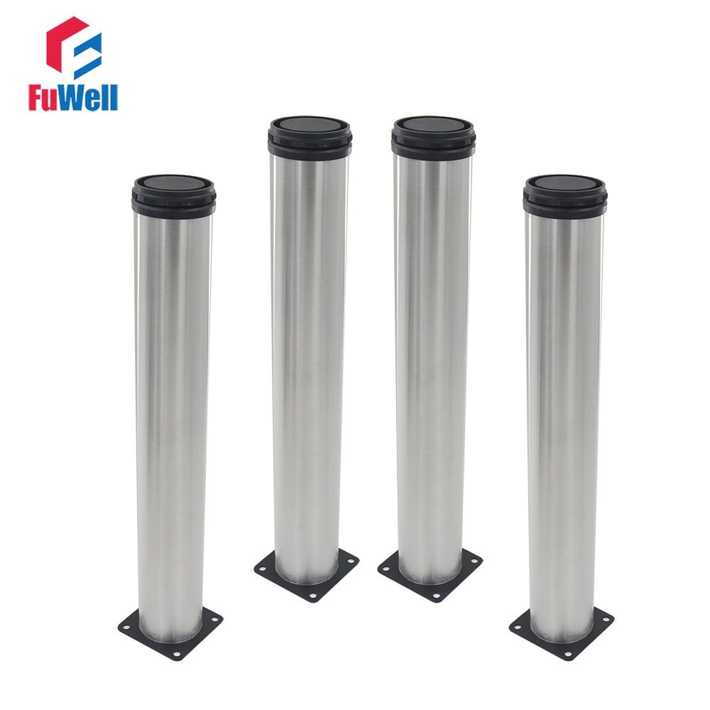 4pcs 500mm Height Furniture Legs Adjustable 15mm Silver Tone Stainless Steel Table Bed Sofa Leveling Feet Cabinet Legs