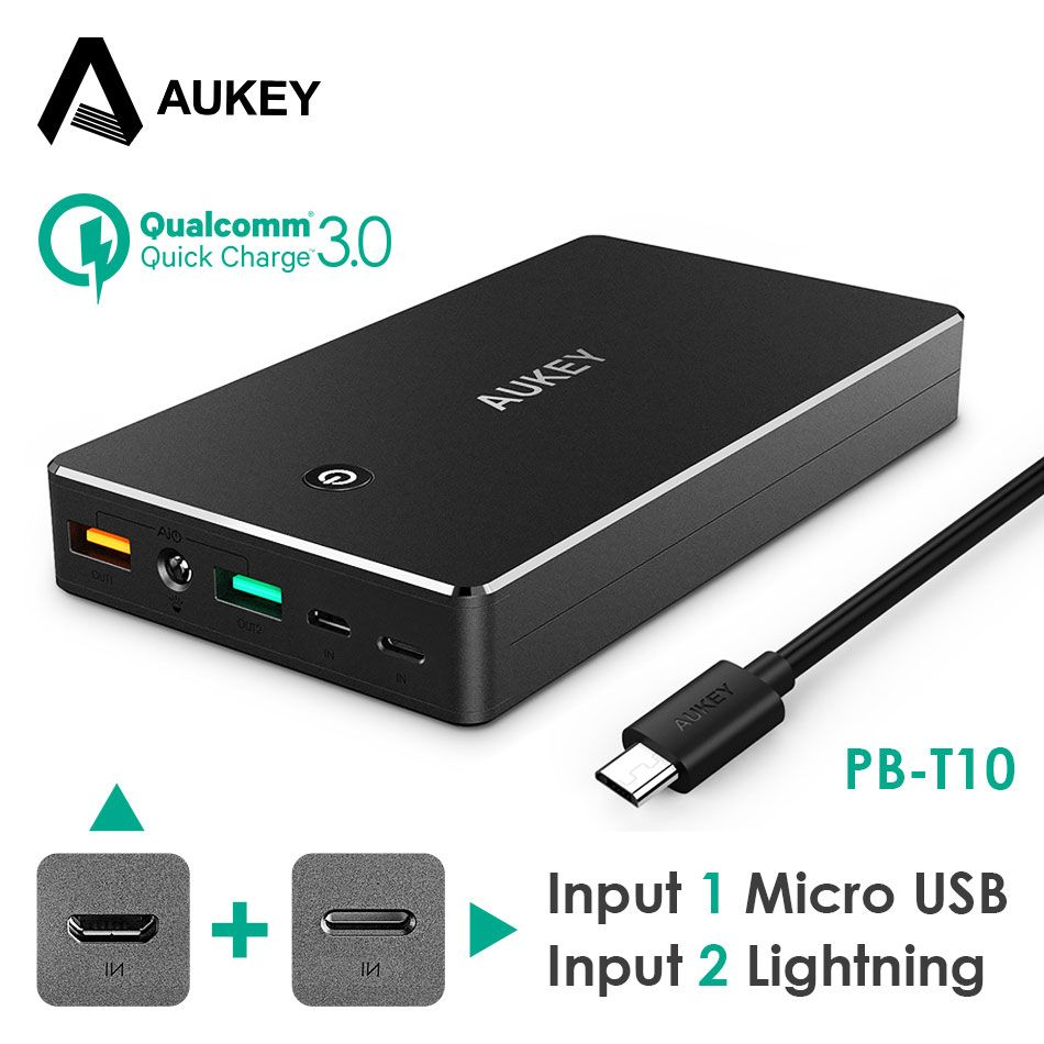 AUKEY Power Bank 20000mAh Portable External Battery Mobile Backup Charger Dual USB Powerbank for Xiaomi Samsung iPhone Poverbank