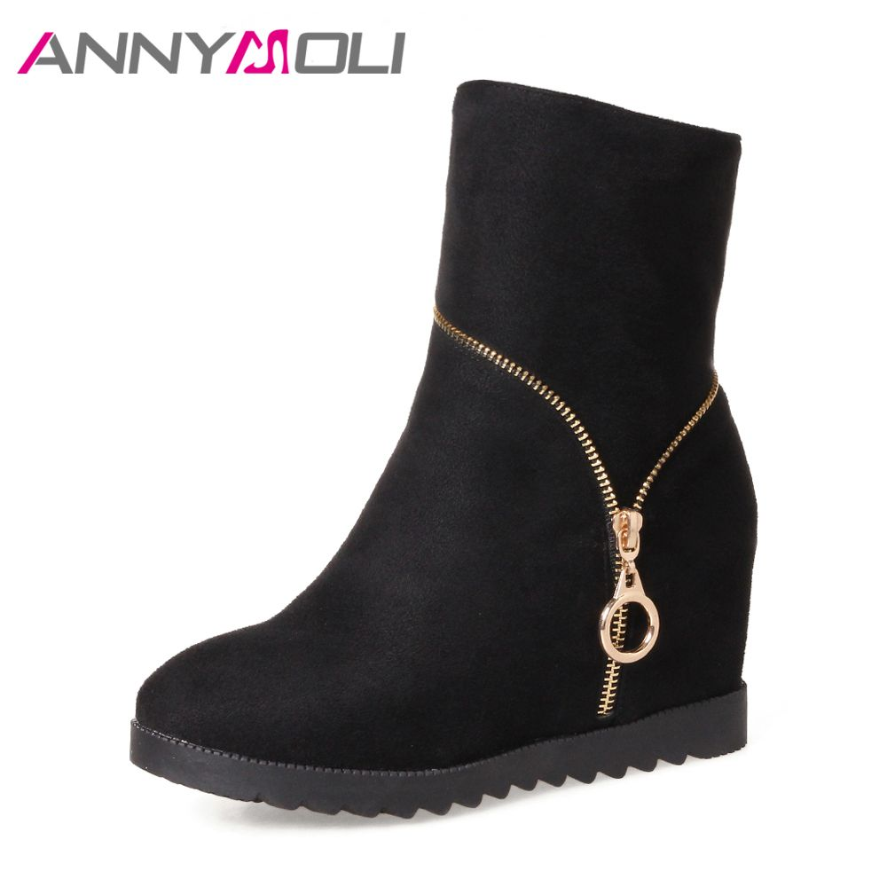 ANNYMOLI Women Boots High Heels Mid-Calf Boots Winter Increasing Platform Wedges Zipper Shoes Big Size 43 Round Toe Casual Boots