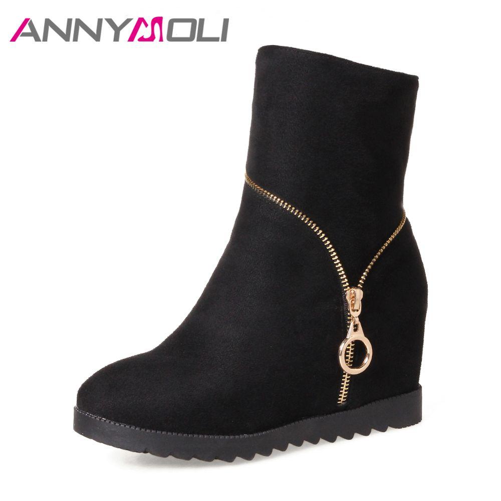 Annymoli Для женщин Сапоги и ботинки для девочек Высокие каблуки Высокие сапоги зимние увеличивающие рост на платформе обувь на молнии большой ...