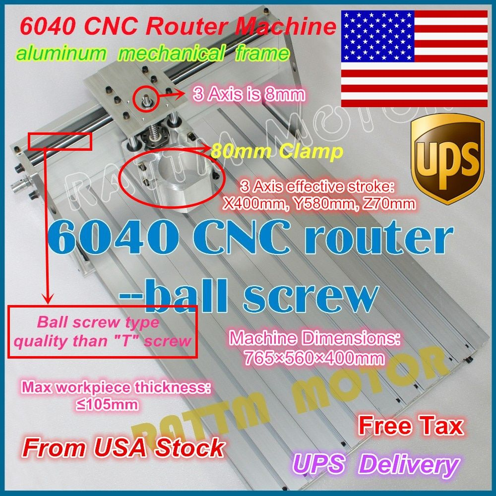 From USA /free shipping 6040 CNC Router Engraver Engraving Milling Machine frame Kit Screw 80mm Aluminum Clamp for DIY user