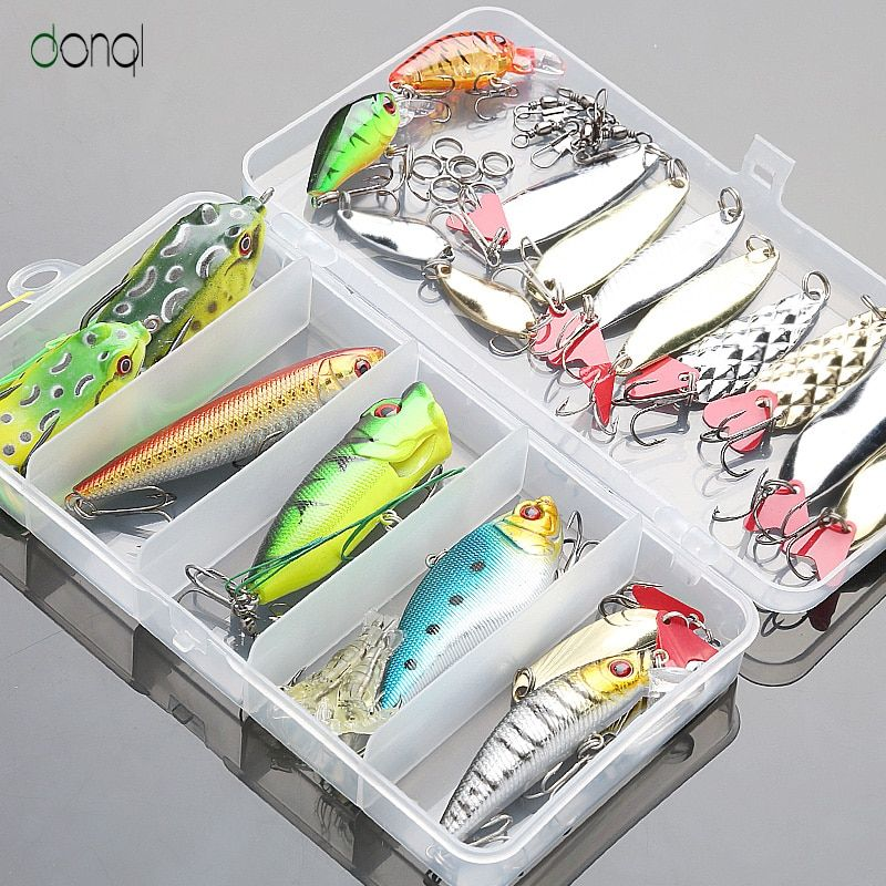 Fishing Lure Minnow/Popper/Wobbler Spoon Metal Lure Frog Bait Fishing Lure Kit Isca Artificial Bait Mixed Color Fishing Geer