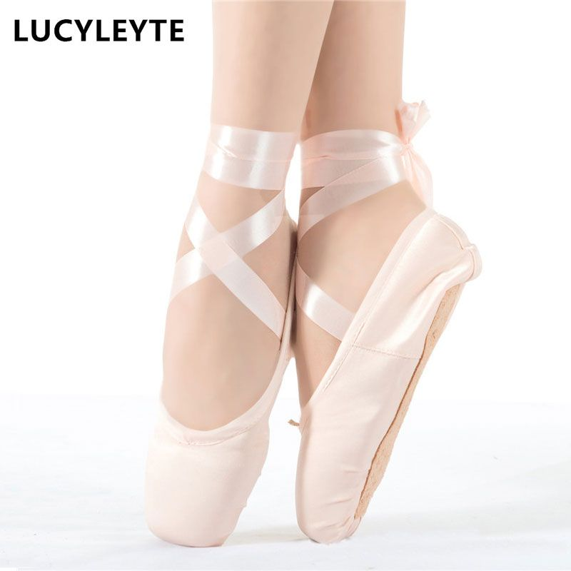 Size 28-43 LUCYLEYTE Child and Adult ballet pointe dance shoes ladies professional ballet dance shoes with <font><b>ribbons</b></font> shoes woman