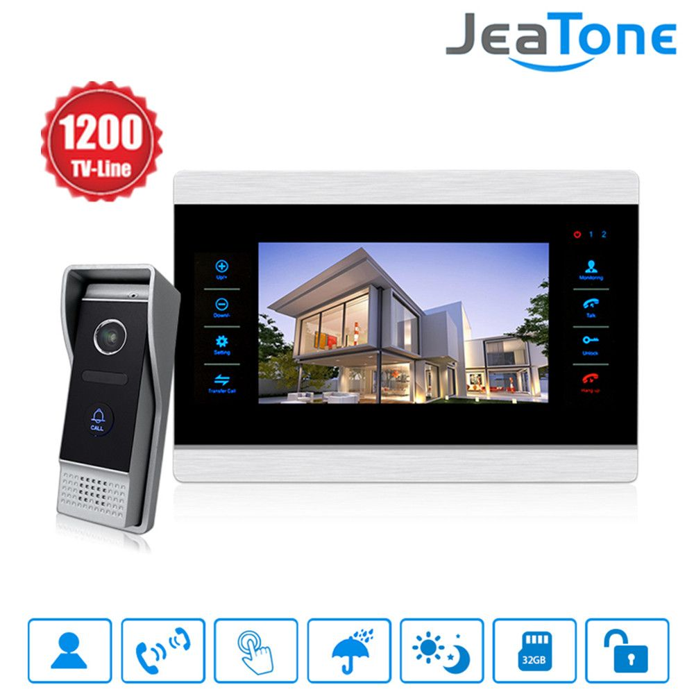 Jeatone 10 inch Color Video Doorbell Intercom Monitor&1200TVL Outdoor Panel Door Phone Intercom System IP65