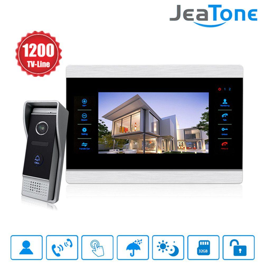 Jeatone 10 inch Color Video Doorbell Intercom Monitor&1200TVL Outdoor Panel Door Phone Intercom System IP65