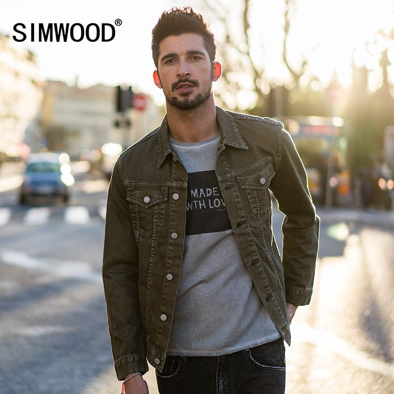 SIMWOOD 2018 Autumn Denim Jacket Men Slim Fit Coats Fashion Vintage Brand Clothing 100% Pure Cotton Plus Size Jean Jacket 180061
