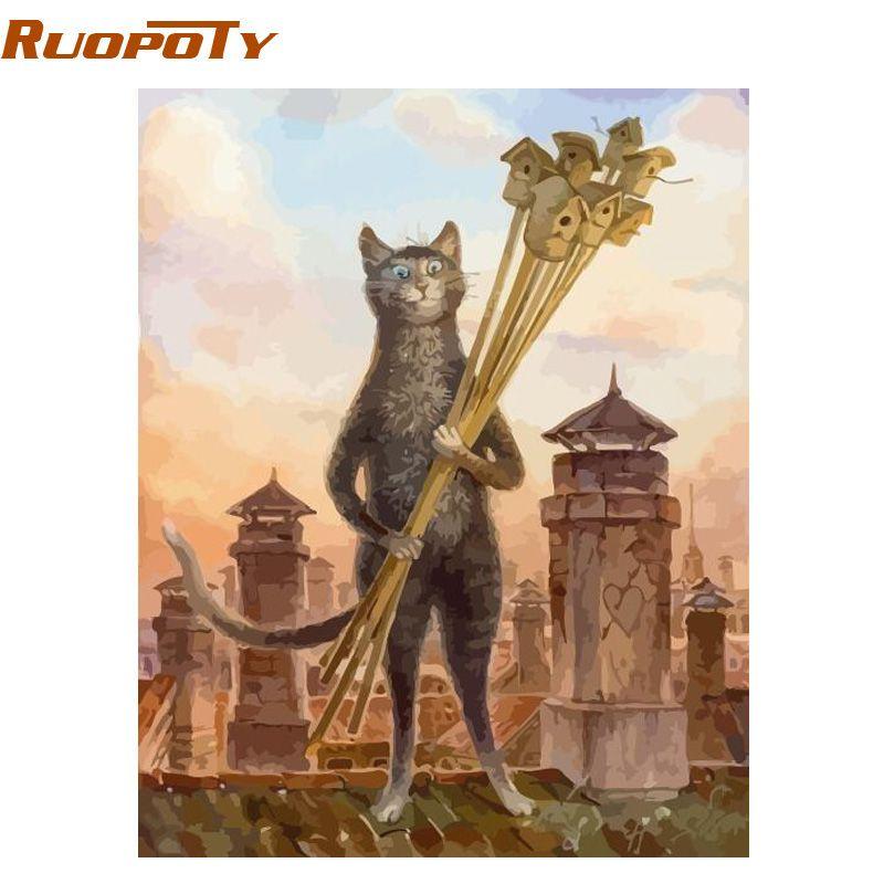 Cadre RUOPOTY animaux chats peinture à la main par numéros kits moderne mur art photo toile peinture cadeau unique pour décor maison 40x50 cm