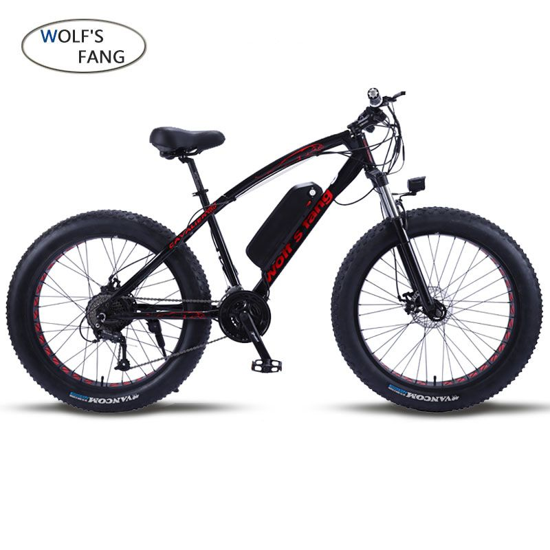 wolf's fang Mountain Bike Electric Bicycle 48V500W 12Ah 27 speed 26X4.0 powerful electric Fat bike Lithium Battery Off road bike