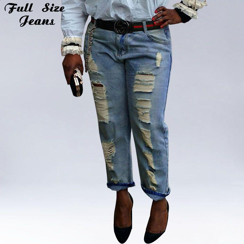 Высокое качество джинсы новый 2015 мода джинсовые широкий рваные джинсы женщина Большой размер бойфренд джинсы для женщин размер 25-34 XL XXL 3XL 4XL