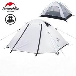 NatureHike Otentik 2 3 4 Orang Tahan Air Embossing Tenda Camping Pendakian Gunung Backpacking Tenda Terbuka dengan Mat UPF50