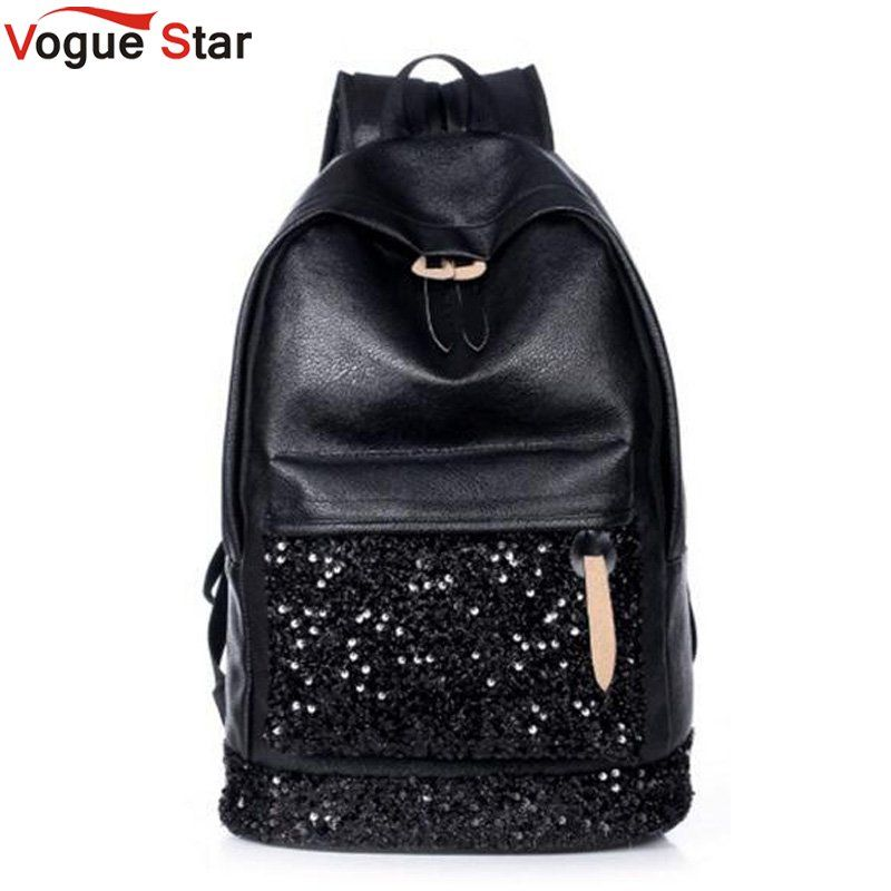 Fashion Women Backpack Big Crown Embroidered Sequins Backpack Women Leather Backpacks High Quality Girls School Bags LB261