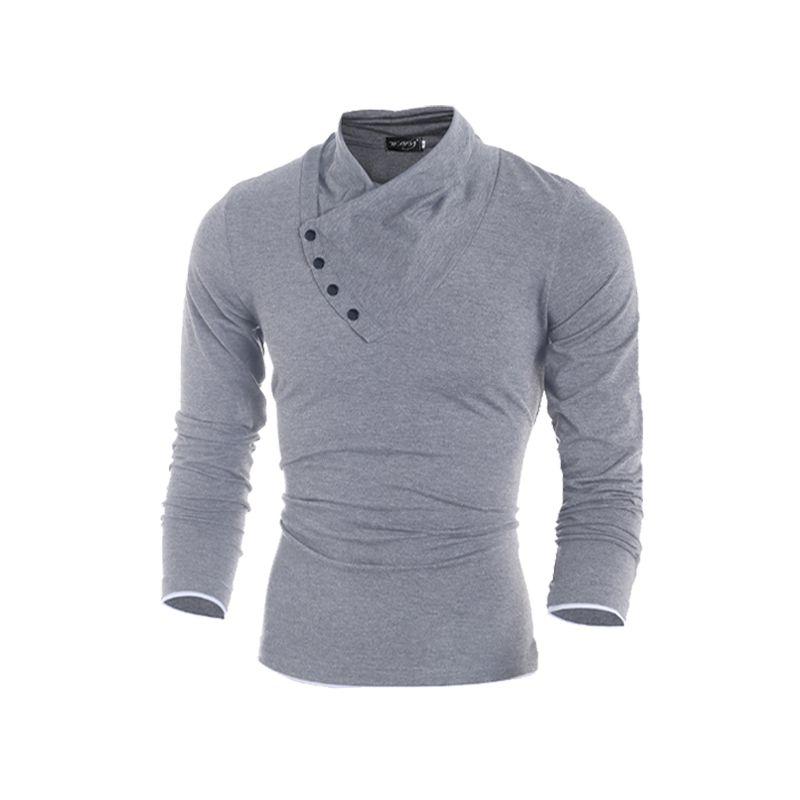 2019 mode Slim Fit hommes t-shirt personnalisé Oblique boucle mâle vêtements coton à manches longues t-shirt pour la livraison gratuite