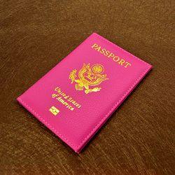 Travel PU Leather Passport Cover Personalised Women Pink USA Passport Holder American Covers for passport Girls pouch Passport C