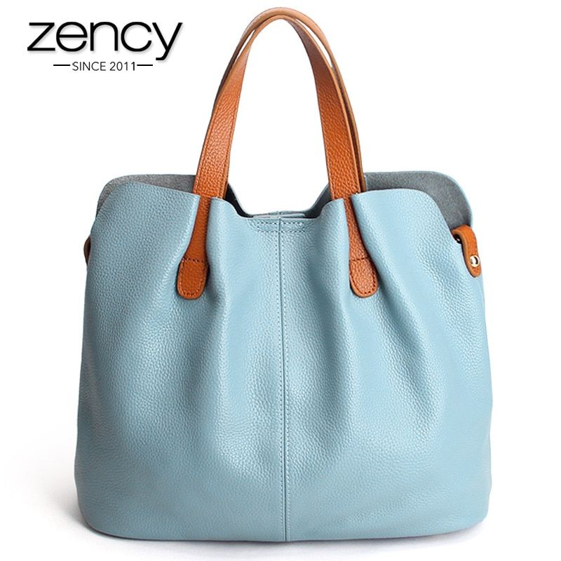 Zency Hot Sale Women Handbag 100% Genuine Leather Ladies Casual Tote Female Shoulder Messenger Large Capacity Shopping Bags