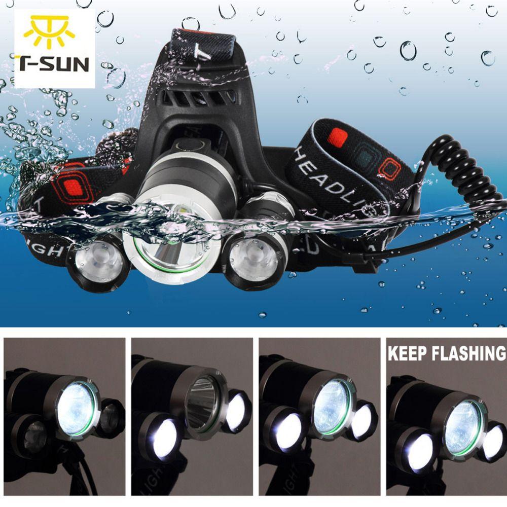 T-Восход светодиодный фонарик налобный фонарь Перезаряжаемые 4 режима фары CREE T6 Супер яркий Водонепроницаемый головного света для наружной ...