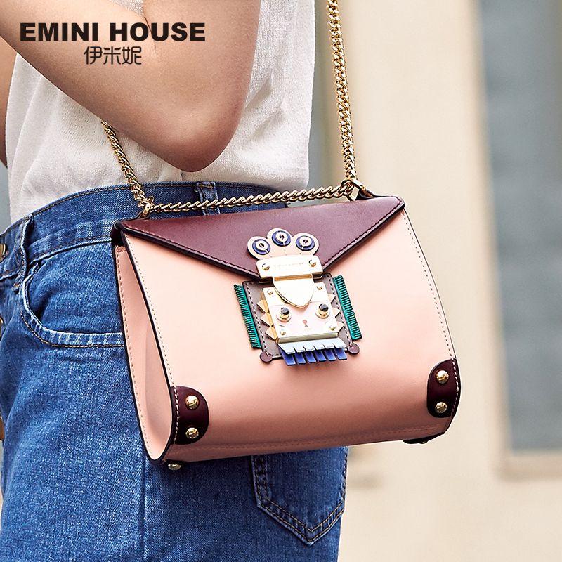 EMINI HOUSE Indian Style Bag Women Messenger Bags Split Leather Crossbody Bags For Women Shoulder Bag Chic Chain Original Design