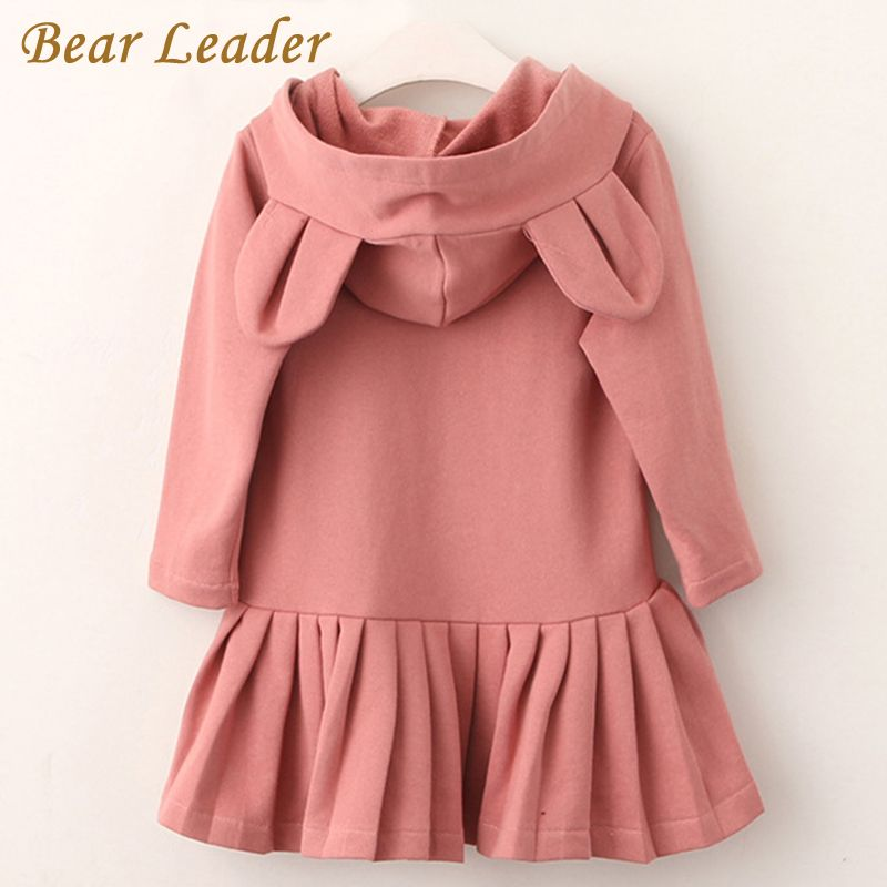 Bear Leader Girls Dress 2018 New Brand Baby Girls Blouse Rabbit Ears Hooded Ruched Long Sleeve Children Clothing Dress 2-6Y
