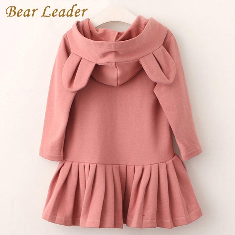 Bear Leader Girls Dress 2018 New Brand Baby Girls Blouse Rabbit Ears Hooded Ruched Long Sleeve Children Clothing Dress 2-6Y