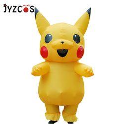 Jyzcos Inflatable Pikachu Kostum Cosplay Purim Dewasa Pokemon Kostum Halloween Fancy Dress untuk Wanita Gadis Anak Cosplay Maskot