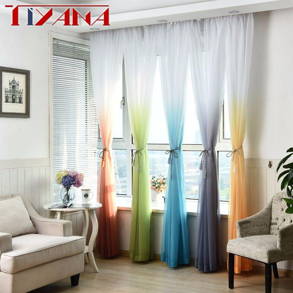 Moderne Hôtel Décoration Fenêtre Fil Cortinas Salon Gradient Tulle Rideau Pour Chambre Rideau Sheer Pour Balcon W185 #2